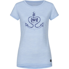 super.natural Printed T-shirt Dames, skyway melange/coastal fjord lovely anchor